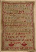 Antique needlework alphabet sampler worked in coloured threads, 'Mary Johnson 11 years of age