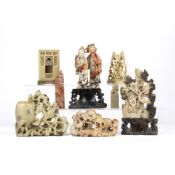 Collection of soapstone figures Chinese, including two seals