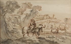 Francesco Zuccarelli (Italian, 1702-1788) Weary travellers on a path, brown wash and ink,16.5cm x