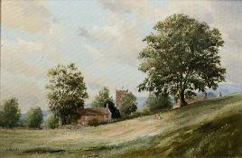 Michael D. Barnfather (b.1934) 'Landscape' oil on canvas, signed lower left, 29cm x 44cm
