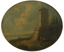 Richard Wilson (British, 1714-1782) Tower and Bastion by the Sea, oil on canvas, 16cm x 19cm,