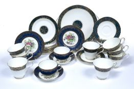 Royal Doulton part dinner service 'Carlyle' pattern, and two Crown Staffordshire porcelain trios