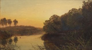 George Smith (1829-1901) Tranquil river scene at sunset, signed, oil on board, 16cm x 28.5cm
