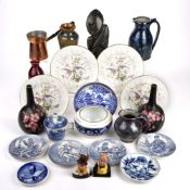 Collection of items to include: Pair of Carltonware black vases, Selbourne studio pottery, blue