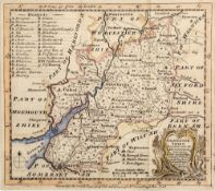 Antiquarian map of Glocestershire (sic) by Eman Bowen, with later hand coloured decoration, 18cm x