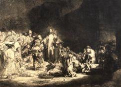 After Rembrandt van Rijn (1606-1669) Christ healing the sick, monochrome print, 29cm x 39cm