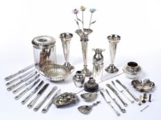 Collection of silver and white metal pieces to include: pair of posy vases, porringer, silver