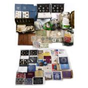 Large collection of pre-decimal coins to include: uncirculated proof sets, pennies, banknotes,