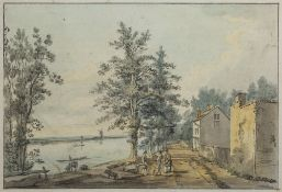 Paul Sandby RA (British, 1731-1809) ''The Mall, Chiswick'', pen, ink and watercolour, 18cm x 27cm
