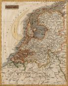 Two antiquarian maps one of Ireland, the other of Holland, unsigned, both with later hand coloured