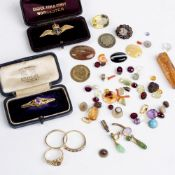 Three 9ct gold rings 6g approx overall, a 9ct gold mounted and enamel Royal Navy Fleet Air Arm