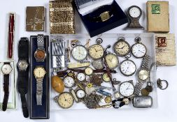 Collection of watches to include: Silver and silver plated pocket watches, boxed Tissot