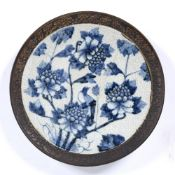 Crackleware charger Chinese, 19th Century, painted with birds and peonies, 37.5cm across