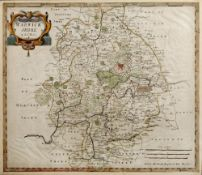 Antiquarian map of Warwickshire engraved by Robert Morden with later hand coloured decoration,