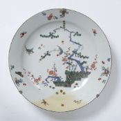 Porcelain, probably Meissen, charger 18th Century, painted in the Japanese Kakiemon style, 30cm