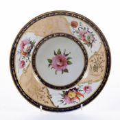 Coalport plate circa 1815, with hand painted decoration of flowers, unsigned, 21cm