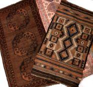 Kelim rug with geometric pattern, 156cm x 94cm, a Belouch rug with three medallions, 188cm x 105cm