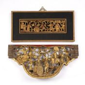 Giltwood temple carving Chinese, carved with a central Emperor and attendants, 50cm x 24cm, and