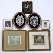 Three portrait miniatures the largest in a brass and tortoiseshell, indistinctly signed, 8cm x