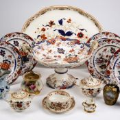 Group of ceramics including a small Worcester pot pourri, ironstone and other pieces