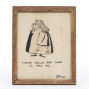 Carl Giles (1916-1995) Original cartoon, pen, ink and wash depicting a bewigged judge ''These things