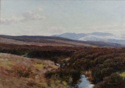 John Howard Lyon (1870-1921) 'Moorland Burn' oil on canvas, signed lower right, 34cm x 49cm