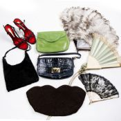 Collection of ladies fashion items to include: Prada handbag, Fendi clutch bag, pair of Christian