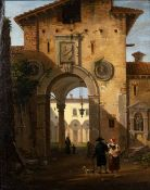 18th Century Italian School A Roman archway to a colonnade, with figures, paper laid on board,