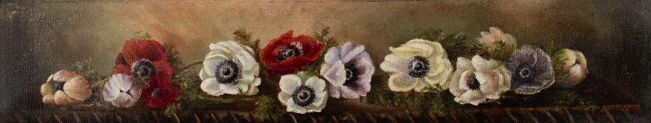 English School Study of poppies, oil on canvas, 16cm x 85cm