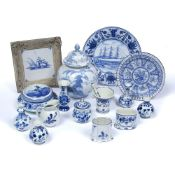Collection of contemporary Delft pottery to include: ginger jar and cover, framed tile, pot and