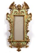 Rococo style frame Italian, early 20th Century with green and gold painted decoration, 67cm x