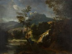 After Nicholas Poussin (French, 1594-1665) A windswept landscape with a girl clinging to a tree, oil