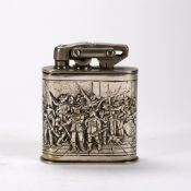 Karl Wieden silver plated table lighter German, early 20th Century with Cavalier figures around