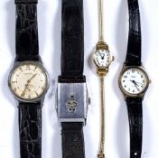 Four vintage gentleman's wristwatches to include: Ingersoll wristwatch, Avia 9ct gold cased