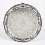 Large Victorian silver salver with husk and swag decoration, standing on three feet, bearing marks