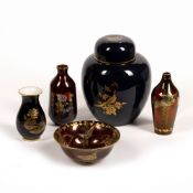 Collection of Carltonware and ceramics to include: Large blue Carltonware ginger jar and cover,