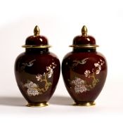 Carltonware Rouge Royale Pair of 'New birds of paradise' ginger jars, yellow printed script marks to
