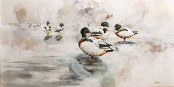 Ken Turner (b.1926) 'Shelducks on a winter pond' oil on board, signed lower right, 61cm x 120cm