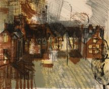 In the manner of John Piper (1903-1992) 'Untitled' lithograph, numbered 22/100, indistinctly