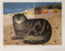 Mary Fedden (1915-2012) 'Cat on a Cornish beach' 1991,edition number 413/500, blind stamp lower