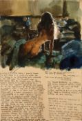 Robert Lenkiewicz (1941-2002) 'Aesthetic notes' watercolour, signed in pencil to the mount, 28cm x