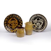Mary Wondrausch (1923-2016) Two slipware charger commemorating William Shakespeare 23cm across and