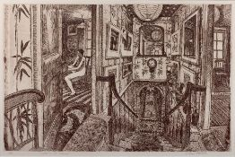 Richard Bawden (b.1936) 'Stairs to the library' etching, signed and numbered 6/85 in pencil lower