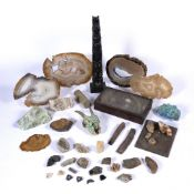 Collection of specimens and fossils to include: Agate, turquoise, tigers eye, totem pole etc