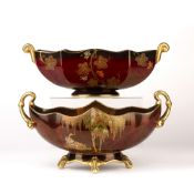 Carltonware Rouge Royale 'New stork' jardinière/planter, 17.5cm high and a 'Grape and vine'