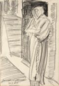 Laura Knight (1877-1970) 'Old Vic' charcoal sketch, signed and titled lower right, 36cm x 24.5cm
