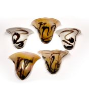 Biot French glass Five glass wall lamp shades, with abstract trailed glass decoration, all approx