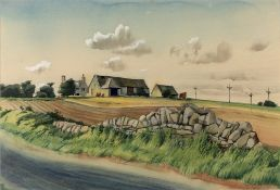Norman Neasom (1915-2010) 'Saintbury Hill farmhouse' watercolour, signed and dated 1962 lower right,