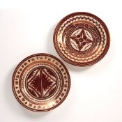 Hispano-Moreque style pair of 20th Century Spanish pottery plates with lustre decoration, signed '