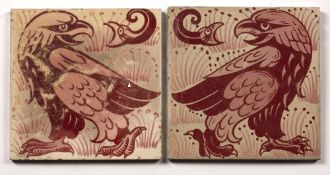 In the manner of William De Morgan (1839-1917) pair of tiles, depicting the Eagle and the Snark,